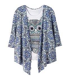 Miss Attitude Girls' 7-16 3/4 Sleeve Cardigan With Owl Tee