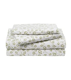 LivingQuarters Heavy-Weight Sage Vines Patterned Flannel Sheet Set