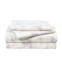 LivingQuarters Heavy-Weight Holiday Deer Patterned Flannel Sheet Set