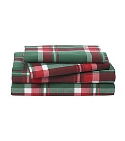 LivingQuarters Heavy-Weight Holiday Plaid Patterned Flannel Sheet Set