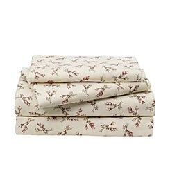 LivingQuarters Heavy-Weight Rosebuds Patterned Flannel Sheet Set