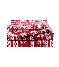 LivingQuarters Heavy-Weight Fair Isle Patterned Flannel Sheet Set