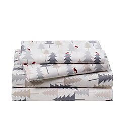 LivingQuarters Heavy-Weight Holiday Tree Patterned Flannel Sheet Set