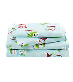 LivingQuarters Heavy-Weight Snowman Patterned Flannel Sheet Set
