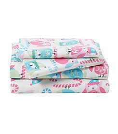 LivingQuarters Heavy-Weight Candy Cane Owl Patterned Flannel Sheet Set