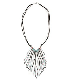 Relativity® Cord And Chain Fringe Necklace With Turquoise And Red Beads