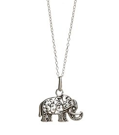 Marsala Sterling Silver Etched Elephant Pendant