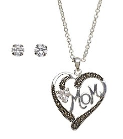 Marsala Fine Silver Plated Marcasite Mom Set