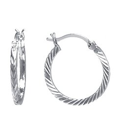 Athra Silver-Plated Diamond Cut Click-Top Hoop Earrings