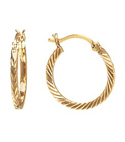 Athra Gold-Plated Diamond Cut Click-Top Hoop Earrings