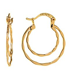 Athra Gold-Plated Double Wave Click-Top Hoop Earrings