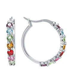 Athra Silver-Plated Multicolor Swarovski® Crystal Hoop Earrings