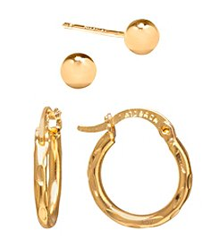 Athra Gold-Plated Ball Stud & Click-Top Hoop Earrings Set