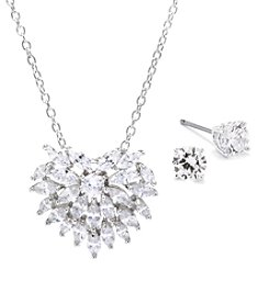 Athra Silver-Plated Cubic Zirconia Earrings & Pendant Set