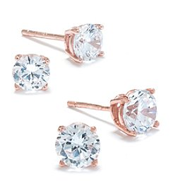 Rose Gold Over Sterling Silver Cubic Zirconia Stud Duo Earrings Set