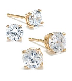Athra Gold Over Sterling Silver Cubic Zirconia Stud Duo Earrings Set