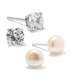 Athra Sterling Silver Cubic Zirconia & Pearl Stud Duo Earrings Set