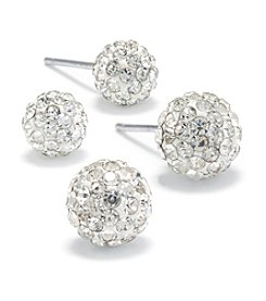 Athra Sterling Silver Pave Crystal Ball Stud Duo Earrings Set