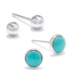 Athra Sterling Silver Ball & Round Turquoise Stud Duo Earrings Set