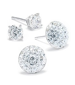 Athra Sterling Silver Pave Crystal Ball & Cubic Zirconia Stud Duo Earrings Set