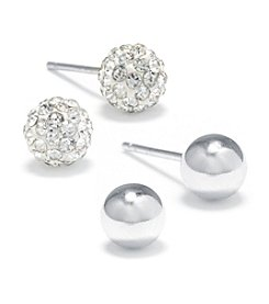 Athra Sterling Silver Ball & Pave Crystal Ball Stud Duo Earrings Set