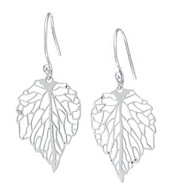 Athra Sterling Silver Laser-Cut Maple Leaf Drop Earrings