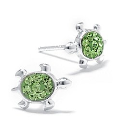 Athra Sterling Silver Green Crystal Turtle Stud Earrings