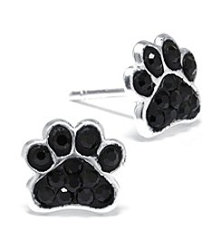 Athra Sterling Silver Black Crystal Paw Stud Earrings
