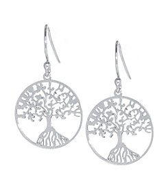 Athra Sterling Silver Tree of Life Drop Earrings