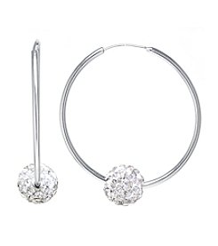 Athra Sterling Silver Endless Hoop Earrings with Crystal Bead
