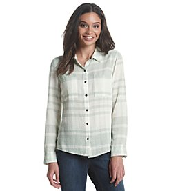 Ruff Hewn Stripe Gauze Button Down Top