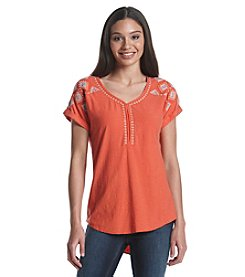 Ruff Hewn Embroidered V-Neck Top