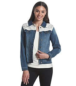 Ruff Hewn Yoke Lace Denim Jacket