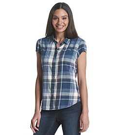 Ruff Hewn Cap Sleeve Plaid Top