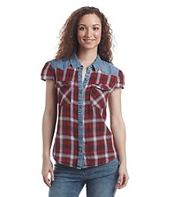 Ruff Hewn Plaid With Denim Top