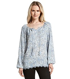 Ruff Hewn GREY Printed Peasant Top