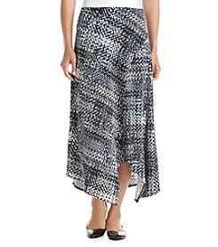 Relativity Asymmetric Denim Patterned Spliced Skirt