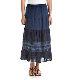 Studio West Long Crochet Enzyme Geogrette Skirt