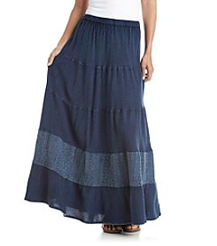 Studio West Long Multi Tiered Denim Skirt