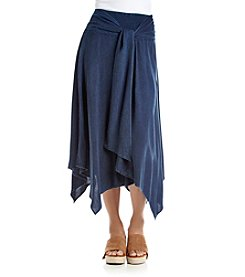 Studio West Long Tie Front Denim Skirt