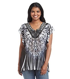Oneworld® Plus Size Crochet Neck Tie-Dye Print Top