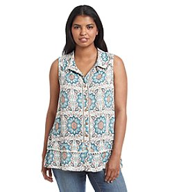 Democracy Plus Size Floral Kaleidoscope Print Swing Tank