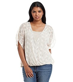 Democracy Plus Size Embroidered Envelope Wrap Top