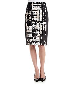 Calvin Klein Petites' Graphic Front Panel Scuba Skirt