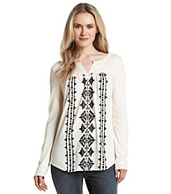 Ruff Hewn Embroidered Split Neck Top