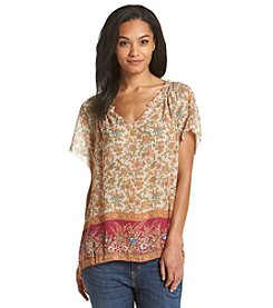 Lucky Brand® Floral Border Blouse