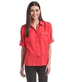 Notations® Petites' Solid Roll Tab Sleeve Top