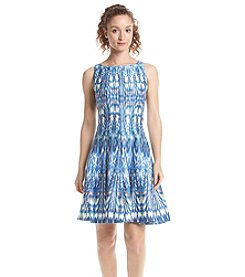 Julian Taylor Patterned Sateen Fit And Flare Dress