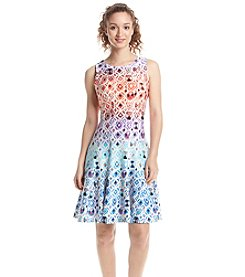 Julian Taylor Geo Patterned Scuba Dress