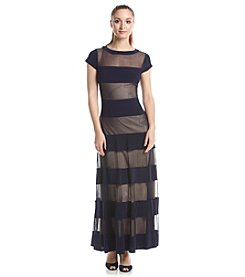 R&M Richards® Sheer Stripe Long Dress